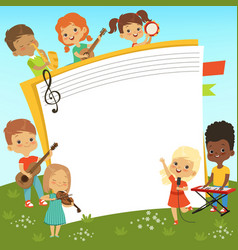 cartoon frame with musician children and empty vector image