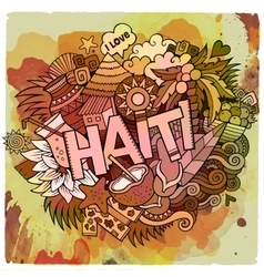 Cartoon hand drawn Doodle Haiti vector