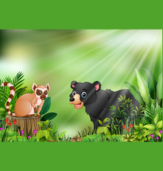 Cartoon of the nature scene with a lemur sitting o vector