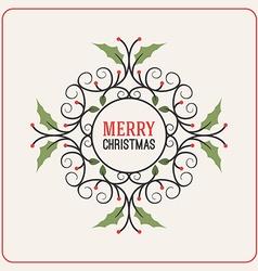 Christmas Postcard Decorative Greeting with vector image