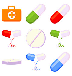 colorful first aid kit content 9 element set vector image