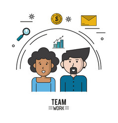 Colorful poster of team work with half body couple vector
