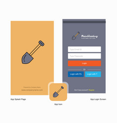 Company spade splash screen and login page design vector