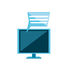Computer monitor with speech bubble vector