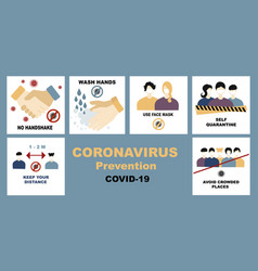 Coronavirus covid19-19 set bundle no handshake vector