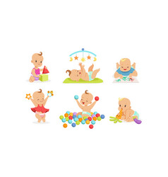 Cute babies are playing on a vector