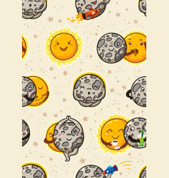 Cute moon practice of yoga solar eclipse seamless vector