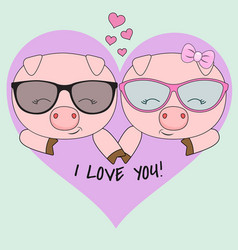 Cute two pigs a boy and a girl vector