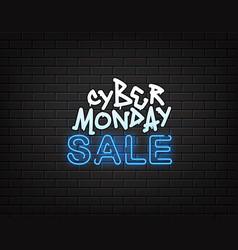 Cyber monday sale banner neon and graffiti vector