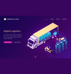 digital logistics isometric landing data delivery vector image