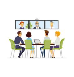Distance meeting - modern business cartoon vector