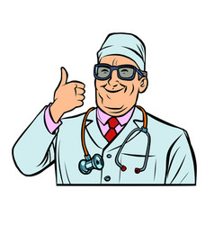 Doctor thumb up gesture vector