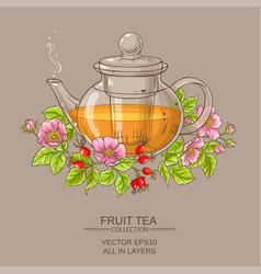 Dog rose tea in teapot vector