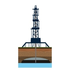 Drilling of oil well in sea icon cartoon style vector