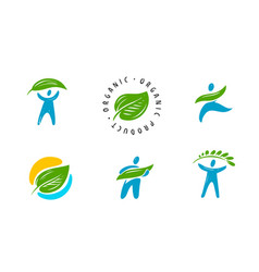 eco organic icon set human with green leaves vector image