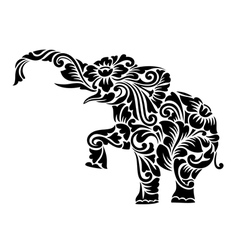 Elephant floral ornament decoration vector