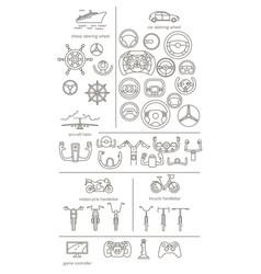 equipment for transport driving set helmet rudder vector image
