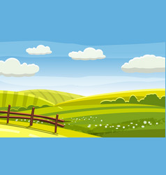 felds and hills rural landscape cartoon vector image