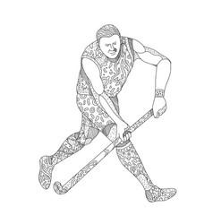 Field hockey player doodle vector