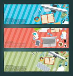 Flat style business concept of working place vector
