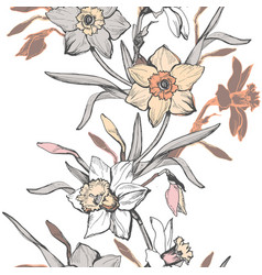 floral vertical seamless pattern with hand drawn vector image