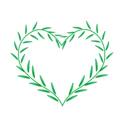 Fresh green leaves forming in beutiful heart shape vector