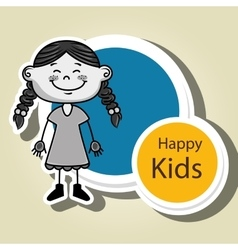 girl kids happy icon vector image