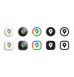 google maps modern 3d and flat icons set vector image