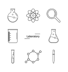 Graphic set science and chemical objects on white vector