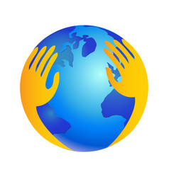 Hands over world as protecting logo vector