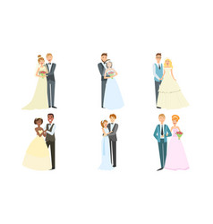 happy just married couples set elegant newlyweds vector image