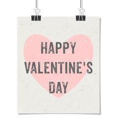 happy valentines day vintage design poster vector image