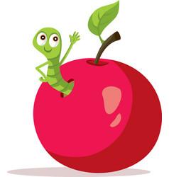 Happy worm waving from apple home cartoon vector