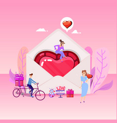 heart in the envelope around the tiny people vector image