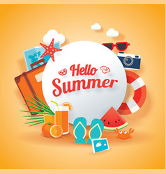 Hello summer banner background template vector