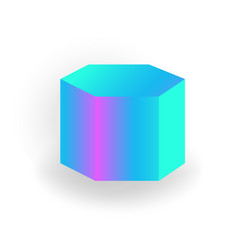 hexagon prism - 3d geometric shape with vector image