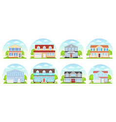 house exterior front view flat design vector image