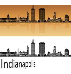 Indianapolis skyline in orange vector