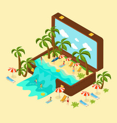 isometric beach vacation concept vector image