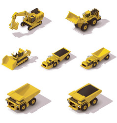 isometric mining machinery set vector image