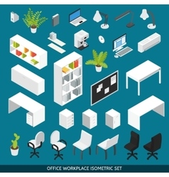 Isometric Office workplace Icon Set vector