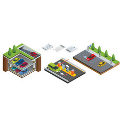 Isometric underground parking with cars indoor vector