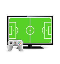 Joystick and tv with football field on screen vector
