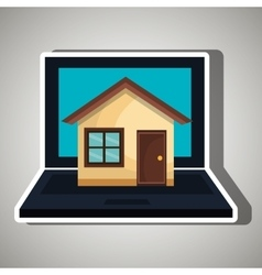 laptop computer with isolated icon design vector image