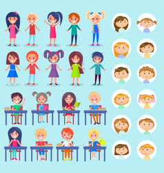 Lesson in school students sitting desks set vector