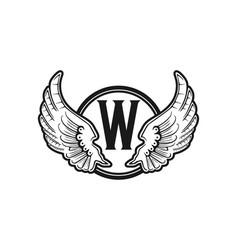 letter w wings and circle logo design inspiration vector image