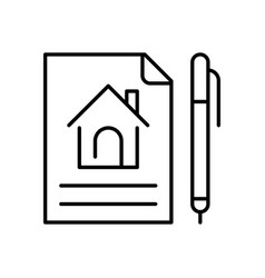 linear simple lease agreement icon vector image