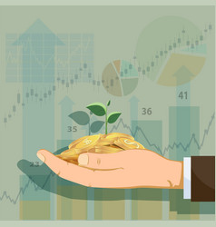Man holds gold coins with a green plant vector