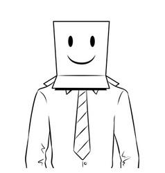 Man with box happy emoji on head coloring vector