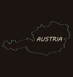 Map of austria monochrome contour map with city vector
